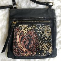 FOSSIL Crossbody Purse Bag Multicolor Canvas Embroidered Floral