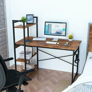 Industrial Style Metal Frame Wooden Computer Desk With 3 Storage Shelves Hooks