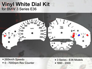 BMW 3 Series E36 (1990 - 2000) - 260kmh / 7000rpm - Vinyl White Dial Kit
