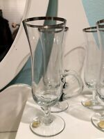 Vintage Silver Rimmed Footed Glassware Made In Romania - Set Of 4