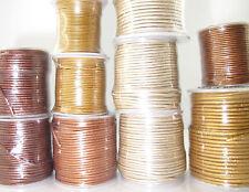 Metallic Lederband 25m Stück oder Rolle Lederriemen silber gold bronze pink blau
