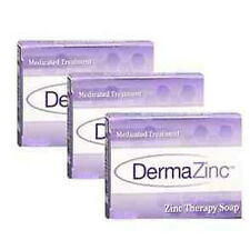 DermaZinc 3 Bar Soap Skin Therapy Zinc Pyrithione Soap Trio