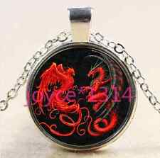 Dragon and phoenix Cabochon Tibetan silver Glass Chain Pendant Necklace #2621