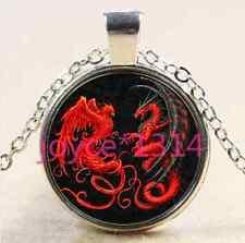 Dragon and phoenix Cabochon Tibetan silver Glass Chain Pendant Necklace #2621