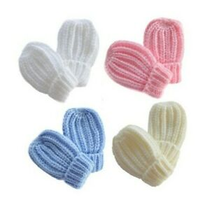BRAND NEW BABY MITTENS CUFFED RIBBED CABLE KNIT KNITTED GLOVES 0 TO 12 MONTHS