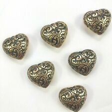 Lot of 6 - Heart Shaped Snap On Button Covers NEW Without Original Packaging