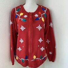 Vintage Avon Christmas Sweater Snowflakes Red Lights Full Zip Size Large White