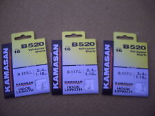30 x Kamasan B520 Size 16 Whisker Barb Hooks To Nylon. Great for Roach & Bream.