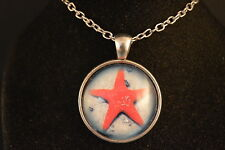 Red STARFISH Cabochon PENDANT -  NECKLACE  New!  Jewelry USA SELLER  marine life