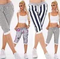 ITALY Damen Bermuda Shorts kurze Hose Capri Baggy Sweat JogPants Streifen 36-40