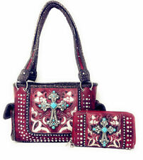 western handbags for women rhinestone bling cross floral embroidered wallet bag