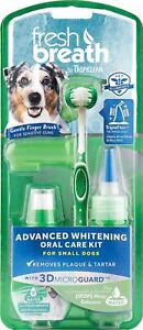 TropiClean Fresh Breath Advanced Whitening Oral Care Kit For Dogs Small Breeds