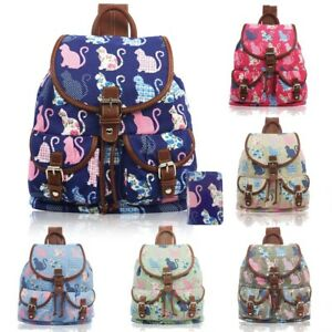 Womens Canvas Backpack Small Fashion Rucksack Ladies Girls Medium Shoulder Bag