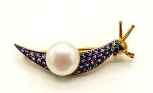 Brooch Snail Amethyst, Pearl & Diamonds Gold & Silver