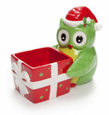 New Ceramic Christmas Owl Candy Snack Bowl Dish