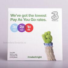 Three 4G PAYG Nano / Micro / Standard TRIO SIM Card Pay As You Go 3 Combi SIM