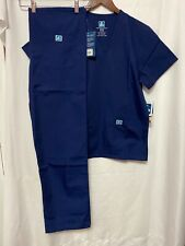 Scrub Set Navy V Neck Top Drawstring Pants Xs/S Unisex Medical Uniforms 2 Piece