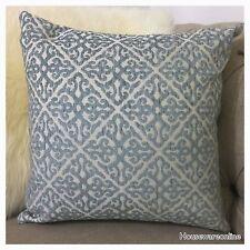 1X Aqua Blue Soft Jacquard  With Royal Design Cushion Cover 45X45cm