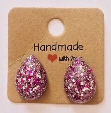 Silver/Pink Glitter Resin Teardrop Stud Earrings
