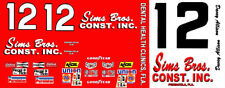 #12 Davey Allison Sims Bros. Const. 1/64th  Scale Slot Car Decals