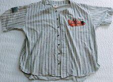World Gym Vintage Men's Baseball Jersey Shirt Pinstripes Muscle USA Made! XL