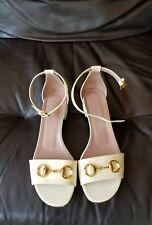15ac856ff4e Gucci Women s Off-White Patent Leather Horsebit Sandals Shoes Eur 38 ...