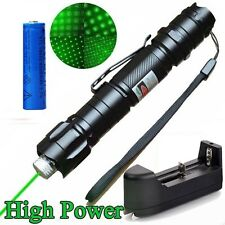 10Miles Power Green Laser Pointer Pen 5mw 532nm Cat Toy Belt clip+Batt+Charger