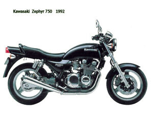 Motorcycle Canvas Picture Kawasaki Zephyr750 1992 Canvas 16x12 inch