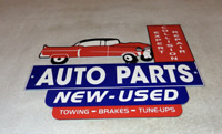 "VINTAGE ""REPAIR SHOP & AUTO PARTS W/ CRASHED CAR"" 12"" METAL GASOLINE & OIL SIGN!"