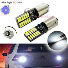 2x Error Free White Bay9s H21W 64136 24-SMD LED Bulbs for VW CC Backup Lights