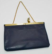 Blue Leather Gold Tone Clutch Wallet Purse Vintage