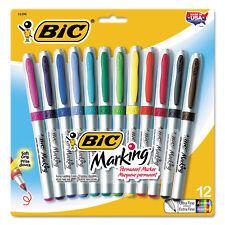 Bic Marking Ultra-Fine Tip Permanent Marker Assorted Dozen GPMUP12ASST