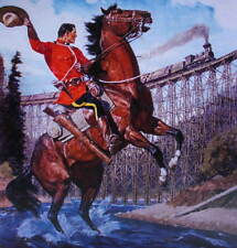 Canadian Mountie RCMP print, Arnold Friberg Horse, Train