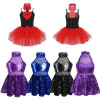 Kids Girls Sequined Ballet Dance Leotard Tutu Dress Ballerina Xmax Dance Costume