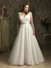 White/Ivory Lace/Tulle Plus-Size Wedding Dress Bridal Gown Formal Custom size