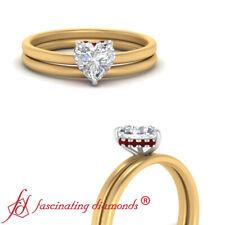 .75 Carat Heart Shaped Diamond And Ruby Gemstone Two Tone Gold Halo Wedding Set