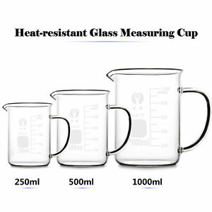 Kinds Heat Resistant Glass Beaker Measuring Cup Jug Scale Container for Baking
