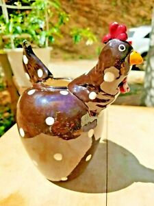 Brown Polka Dotted Rooster Vase Farmhouse/Shabby Chic/Rustic Decor