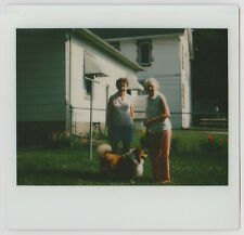 VINTAGE 80s Kodak Instant Film PHOTO Pair Women w/ Collie Dog