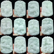 100% Natural A JADE JADEITE Necklace light green Hand engraving Chinese Zodiac