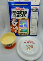 LOT Vintage Kellogg's Frosted Flakes Hologram Box, Footed Cereal Bowl, Frisbee