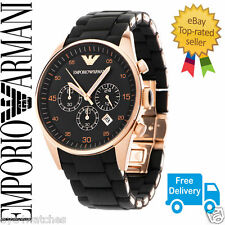 EMPORIO ARMANI AR5905 BLACK AND ROSE GOLD MENS  WATCH *BOX + CERTIFICATE*