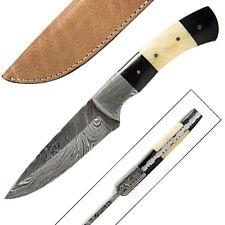 Avenger Damascus Hunting Knife FULL TANG Hunting Buffalo Bone & Horn Handle