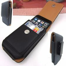 for iPhone 7/6/6s Black Leather Carrying Case+Belt Clip w/ 2 Credit Card Slots