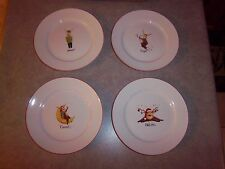 New - Santa's Reindeer Salad/Dessert Plates by Rainbow Mountain, Set of 4 - New