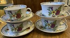 More details for vintage globe pottery co. 4 x cups & saucers - 2 sizes