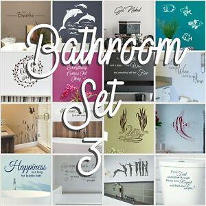 Bathroom Wall Stickers Vinyl Transfers Decal Large Interior Home Art Decor Set 3