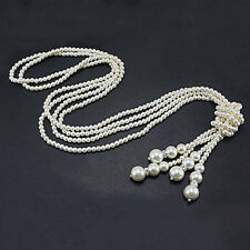 Women Faux Pearl Tassel Pendant Long Chain Charms Sweater Necklace Bluelans