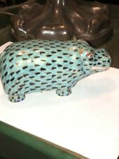 Chinese Teal Green hippopotamus figurine 4 1/2� Long - hand painted - Nib