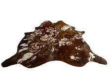 Cowhide beige y marrón | kuhfellteppich en beige y marrón, única